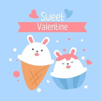 正方形のギフトタグ、カード、はがき、幸せなバレンタインデーのかわいい白ウサギ