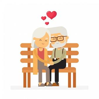 恋に年配のカップル
