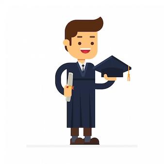 卒業証書を持った卒業生