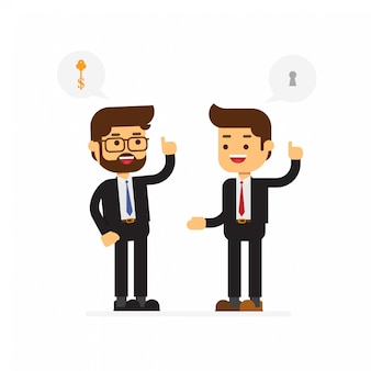 他の人に解決策を提供するビジネスマン
