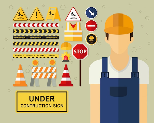 建設サインコンセプトの背景の下で