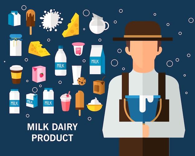 Молочный молочный продукт концепции фон