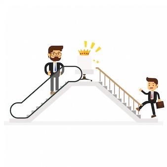成功へのエスカレーターを使うビジネスマン