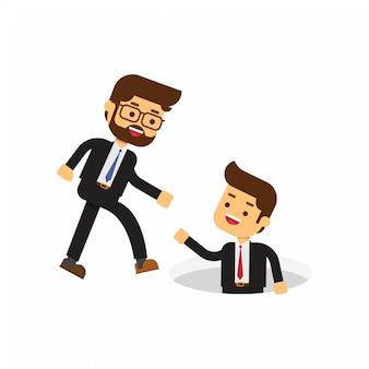 Бизнесмен помогает своему другу вытащить его из дыры