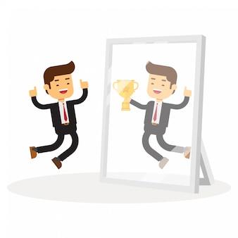 ビジネスの男性は彼自身が鏡で成功しているのを見ます