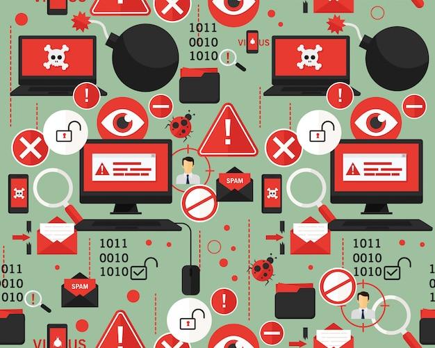 Вектор плоский бесшовный узор хакер