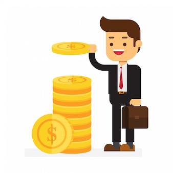 Бизнесмен кладет деньги в стопку монет