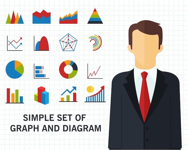 グラフと図の概念の背景のセット