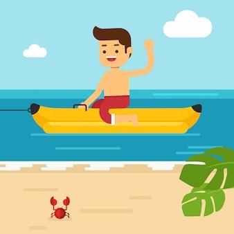 Человек отправиться в путешествие на летние каникулы, развлекаясь на банановой лодке в море