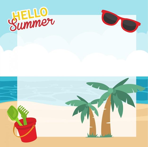 夏休み、夏をテーマにしたフレームの背景デザイン
