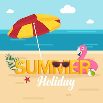 В летние каникулы, красивый летний пляж с зонтиком и фламинго