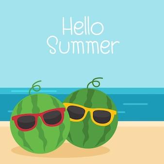 夏休みには、サングラスとスイカの背景