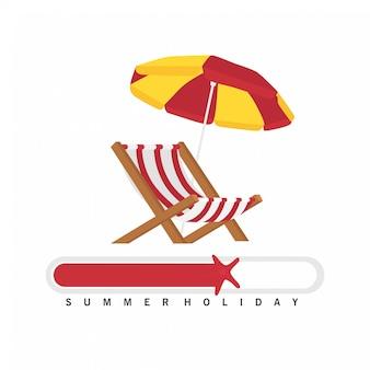 夏用ローディングデザイン、チェアとビーチパラソル