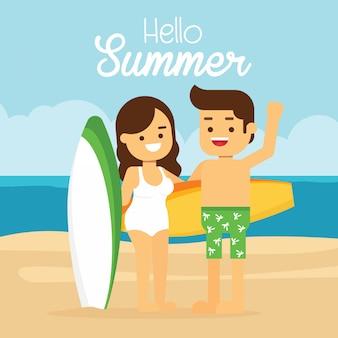 Мужчина и женщина отправляются в путешествие на летние каникулы