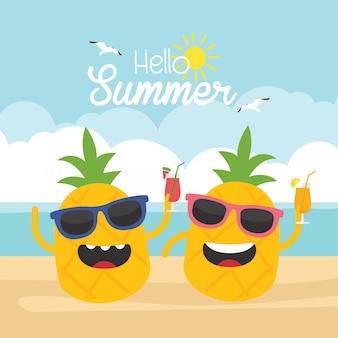 夏休みには、パイナップルキャラクターデザイン。白色の背景。