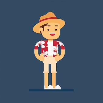 Счастливый мужчина турист в гавайской рубашке отправиться в путешествие на летние каникулы