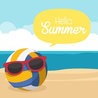 こんにちは夏、ビーチの砂の上のバレーボール