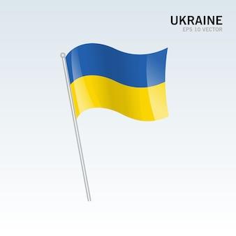 Украина развевающийся флаг, изолированные на сером фоне