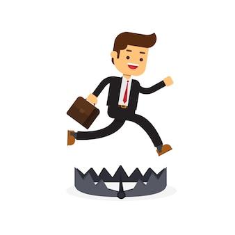 ビジネスマンが走って、落とし穴を避けるためにジャンプする