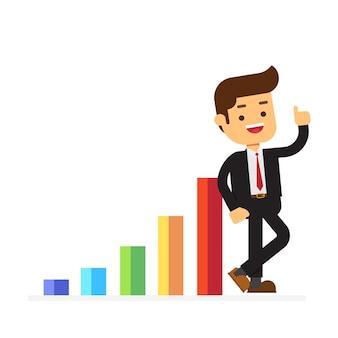 ビジネスマンは肯定的な収入スケジュールで立つ