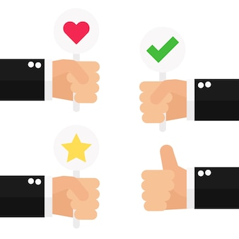 ビジネスの手は顧客のレビューで親指を上げる