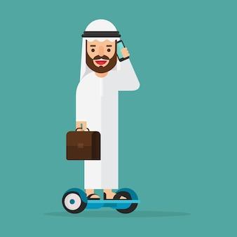 Арабский бизнесмен, говорить с мобильного телефона на за борт