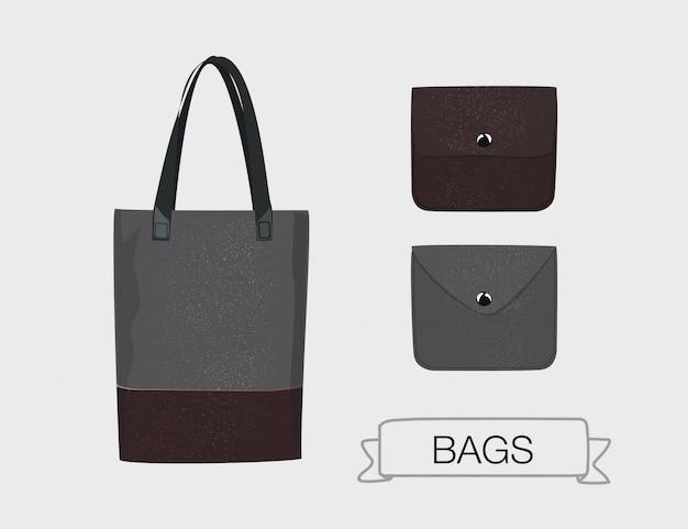 ベクトル革製のハンドバッグと財布セット。