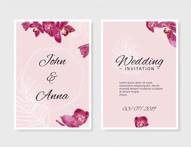 結婚式の招待状のテンプレート。