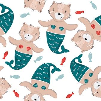 Кошка русалка шаблон.
