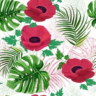 アネモネの花のシームレスなパターン。