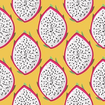 ドラゴンフルーツ(ピタヤ、ピタハヤ)のシームレスなパターン。