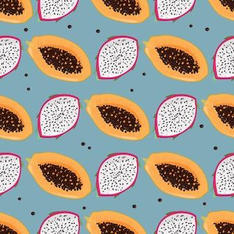 Дракон фрукты и папайя фон.