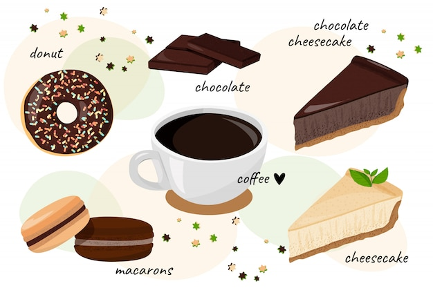 Коллекция десертов и кофе.