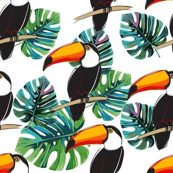 シームレスなトカゲパターン。鳥と夏のベクトルの背景。