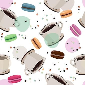 コーヒーとマカロンのシームレスパターン。