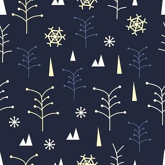 木と雪片の背景とシームレスな冬