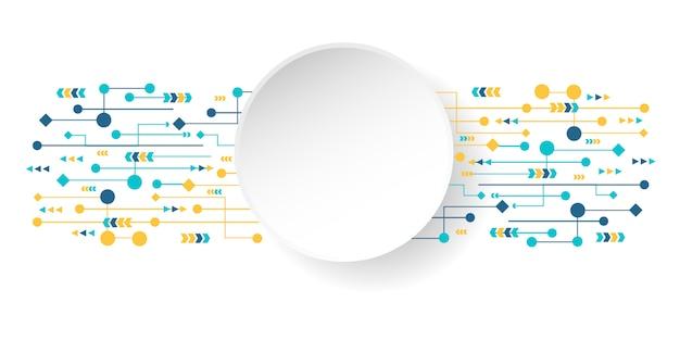 円の空と様々な要素を持つ抽象技術背景ビジネス。イノベーションの概念