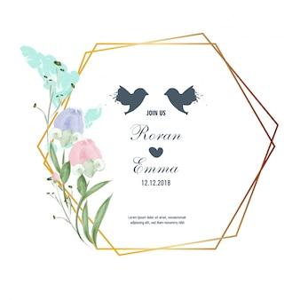 Винтаж цветочные открытки цветов рамка в стиле акварель.