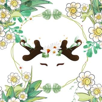 シームレスなパターン花の中のヴィンテージバニー。