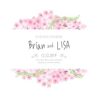 Винтажная цветочная свадебная открытка в стиле акварели