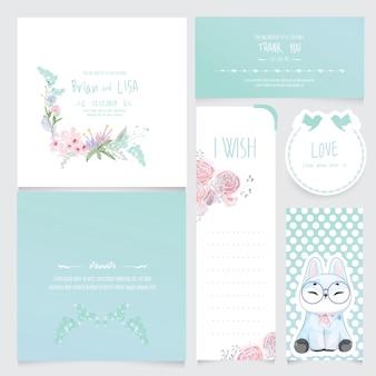 水彩風のヴィンテージの花の結婚式のカードのセットです。