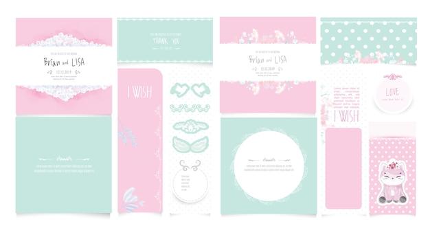 水彩風のビンテージ花の結婚式のカードを設定します。