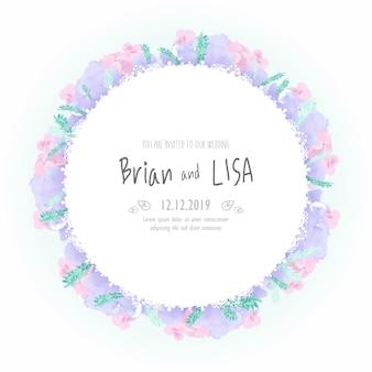 水彩風のヴィンテージの花の結婚式のカード。