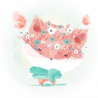 キツネの花の水彩画を落書き。