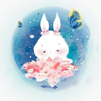ウサギの落書きウサギの花の水彩画。
