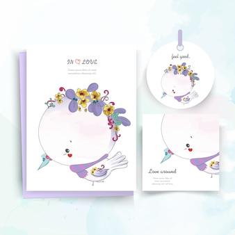 水彩風のヴィンテージの花のかわいい動物カード。