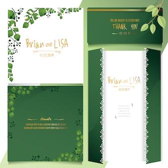 水彩風のグリーンフローラルウェディングカード。