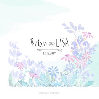 水彩風の甘い花の結婚式のカード。
