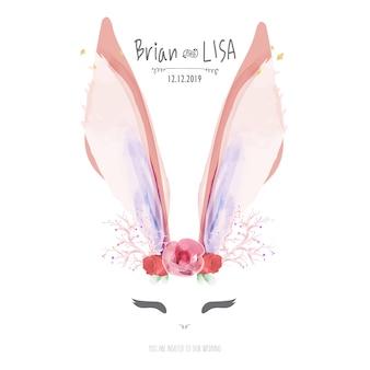 Сладкая цветочная свадебная открытка в стиле кролика.