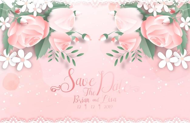 Сладкий цветочный шаблон свадебной открытки